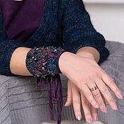 Украшения handmade. Livemaster - original item Cuff bracelet with author`s embroidery Night orchids. Handmade.