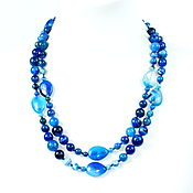 Работы для детей, handmade. Livemaster - original item Long necklace with natural blue agate. Handmade.
