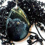Украшения handmade. Livemaster - original item Blackie and Astik – pendants with black cat lacquer paintings. Handmade.