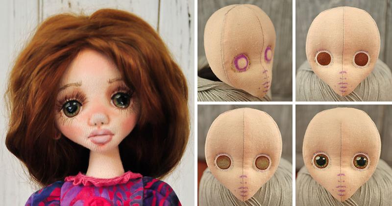 Чем рисуют глазки текстильной кукле