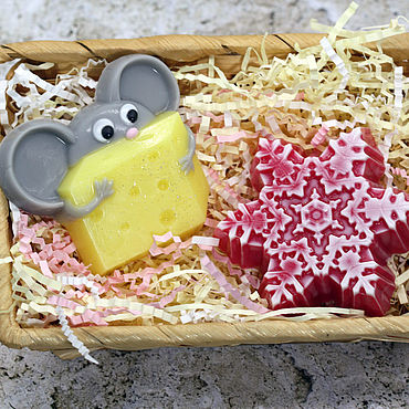 Cosmetics handmade. Livemaster - original item Soap set Christmas mouse and snowflake. Handmade.