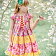 Одежда для девочек, ручной работы. Ярмарка Мастеров - ручная работа. Купить Платье сакура розово сиреневое Хлопок оборки. Handmade.