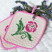Для дома и интерьера ручной работы. Ярмарка Мастеров - ручная работа Прихватки для горячего Розовый цветок. Handmade.
