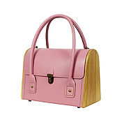 Сумки и аксессуары handmade. Livemaster - original item Classic CEILI pink bag-leather bag with wood. Handmade.