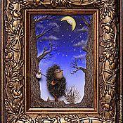 Картины и панно ручной работы. Ярмарка Мастеров - ручная работа Картинка с Ёжиком. Handmade.