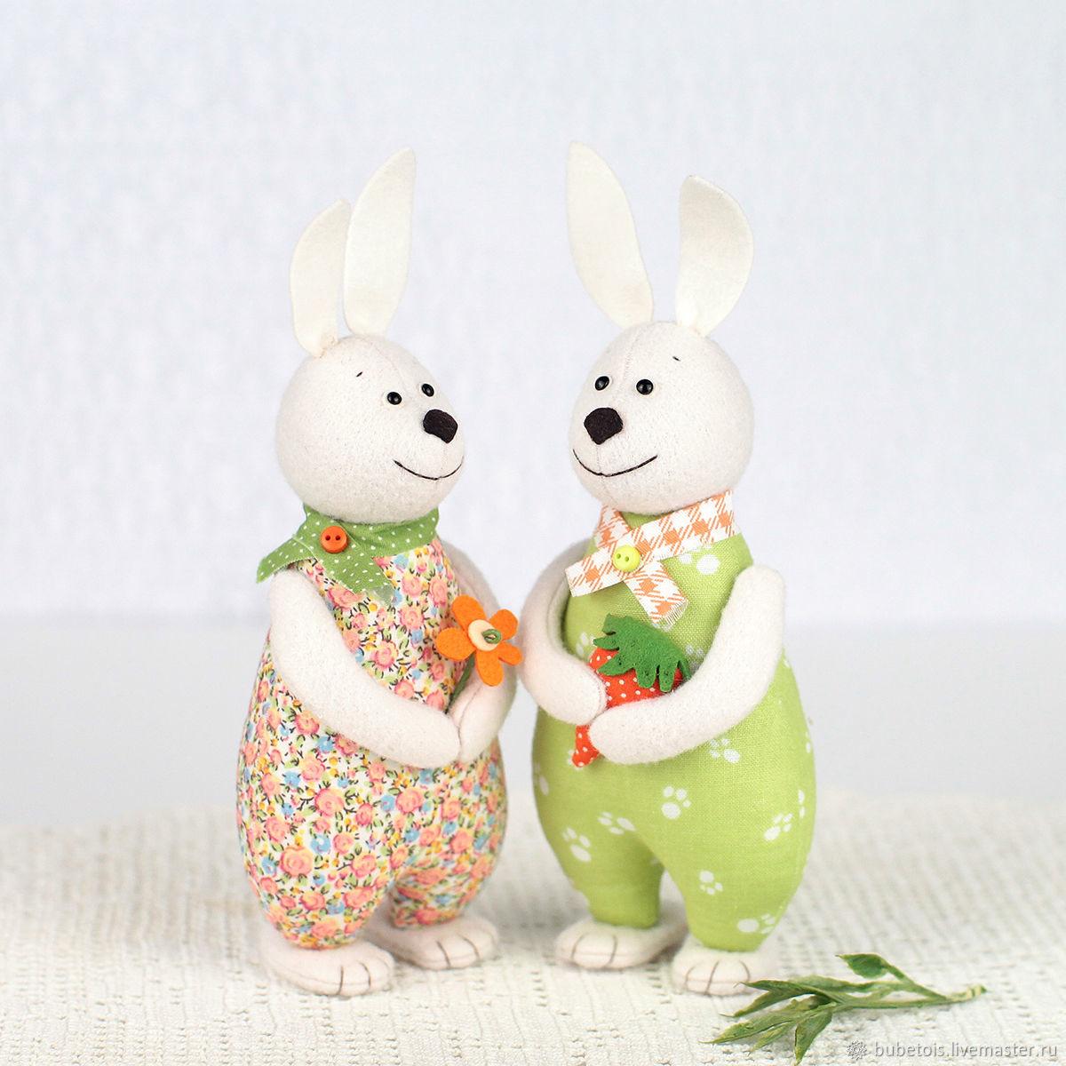 Игрушки Зайцы из ситца, подарок на ситцевую свадьбу, кролики и зайчики, Мягкие игрушки, Москва,  Фото №1