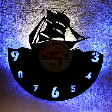 For home and interior handmade. Livemaster - original item Wall clock night light illuminated vinyl record Ship. Handmade.