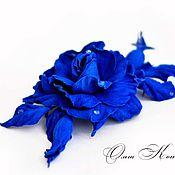 Украшения handmade. Livemaster - original item Blue rose flower brooch leather Royal ultramarine gift for women. Handmade.