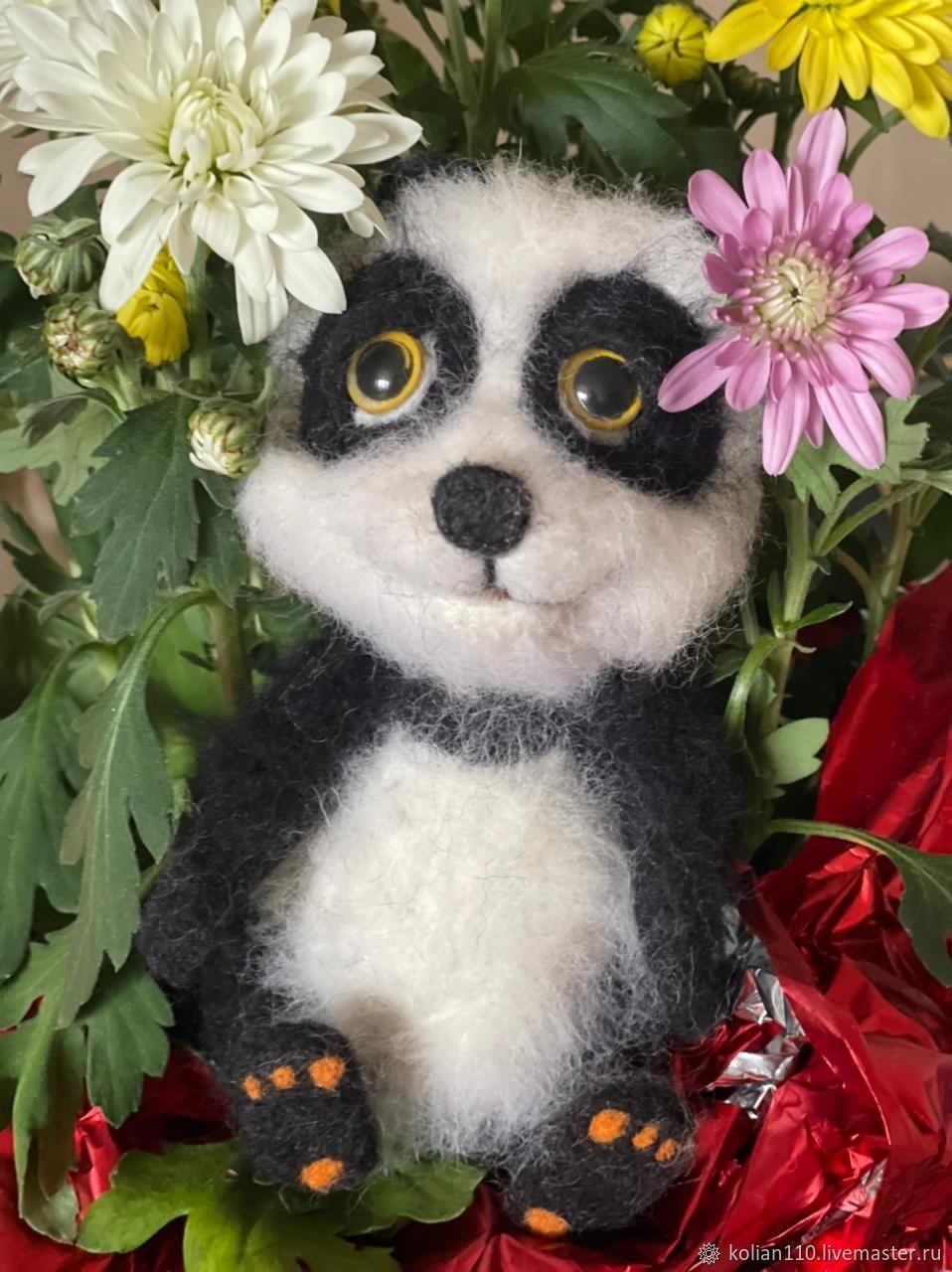 Панда из шерсти, Войлочная игрушка, Зеленоград,  Фото №1