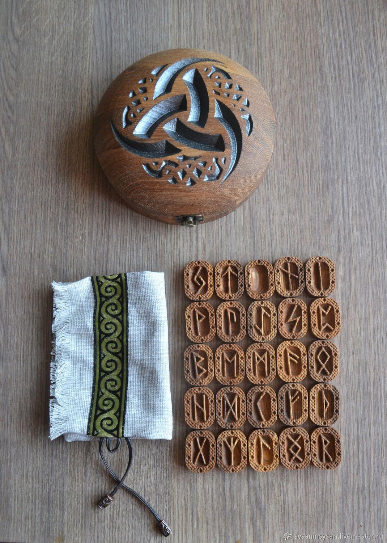 Scandinavian runes of the Futhark. (3 items) Set of wooden runes, Runes, Angarsk,  Фото №1