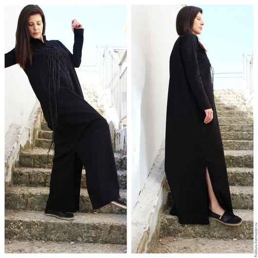 """Платья ручной работы. Ярмарка Мастеров - ручная работа. Купить Длинное льняное платье """"Black Linen Moment""""  D0033. Handmade."""