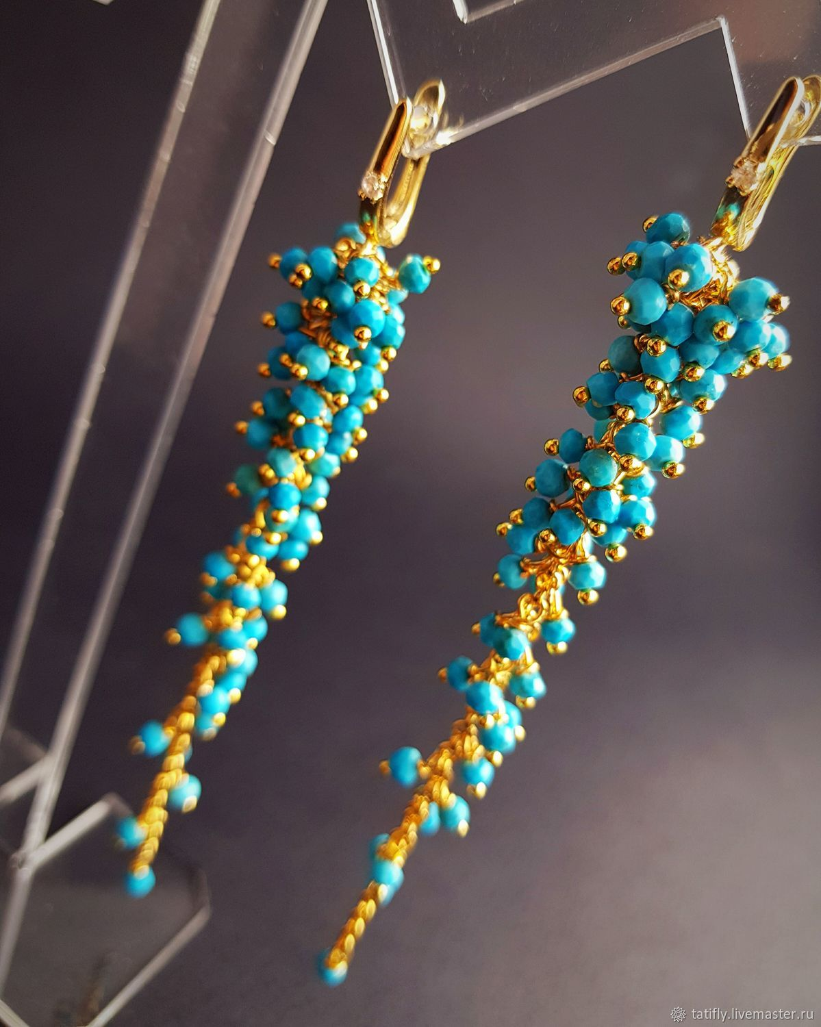 Earrings clusters of Turquoise, Tassel earrings, Krasnodar,  Фото №1