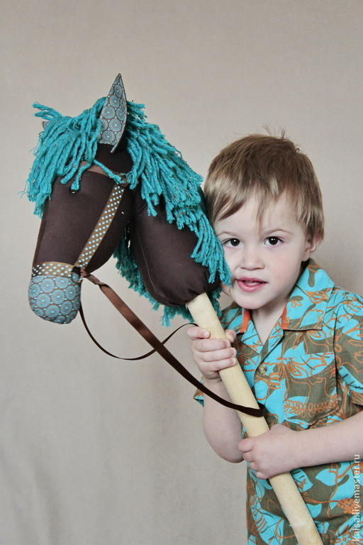 Игрушки животные, ручной работы. Ярмарка Мастеров - ручная работа. Купить Лошадка на палочке бирюзовая.. Handmade. Бирюзовый, хлопок