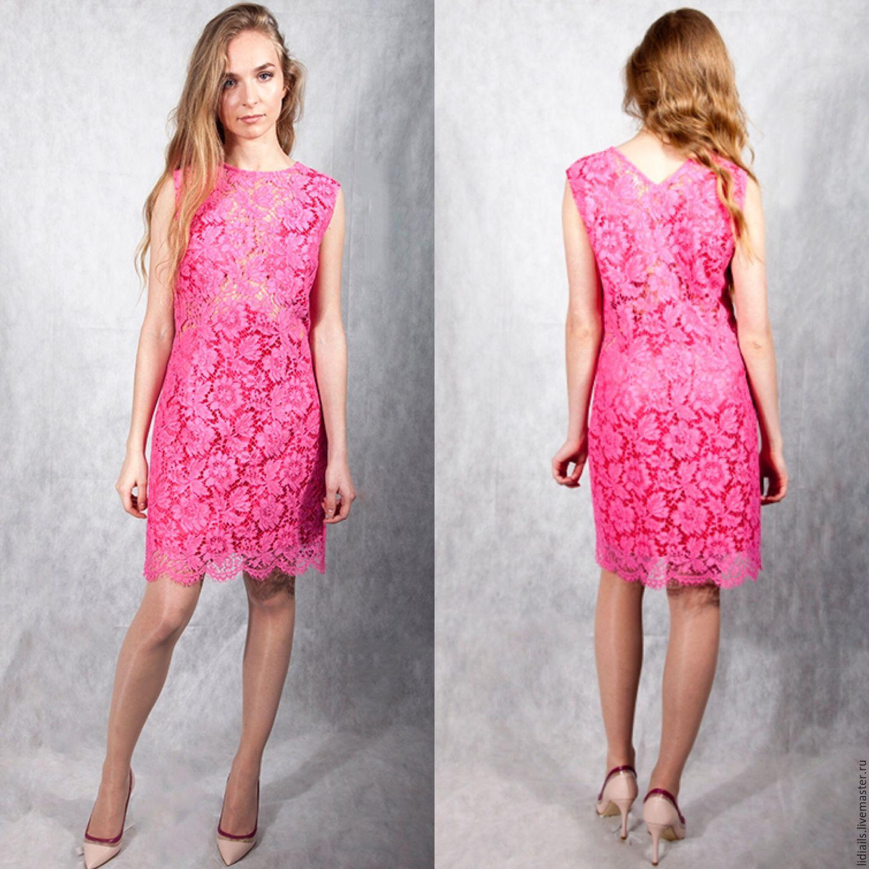 Платье розовое кружевное