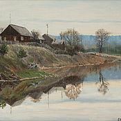 Картины и панно handmade. Livemaster - original item Oil landscape Chusovaya River early evening. Handmade.