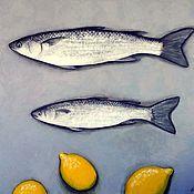 Картины и панно ручной работы. Ярмарка Мастеров - ручная работа Рыба и лимоны. Handmade.