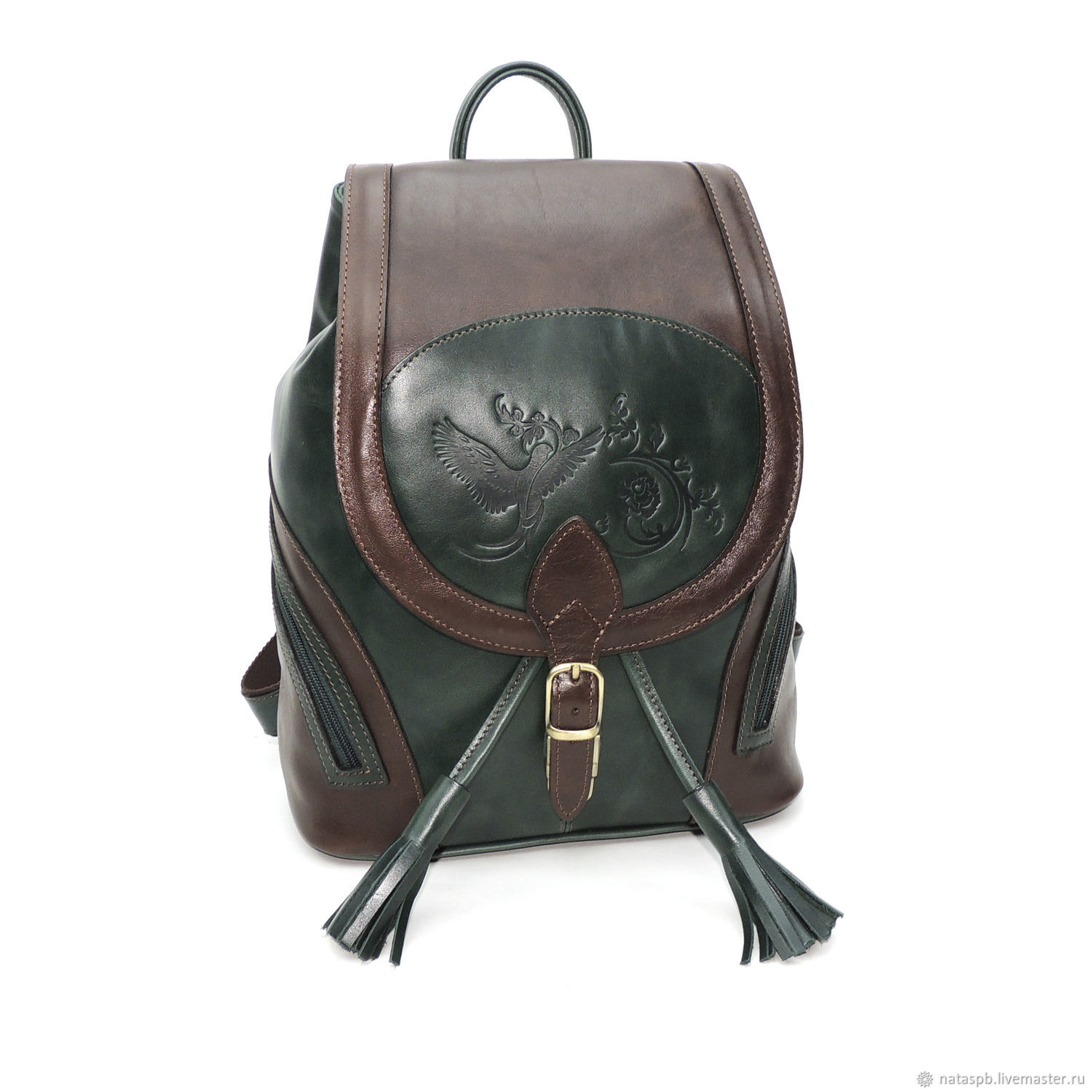 Backpack Women's Leather Brown Green Stasia Mod. R. 50-632, Backpacks, St. Petersburg,  Фото №1