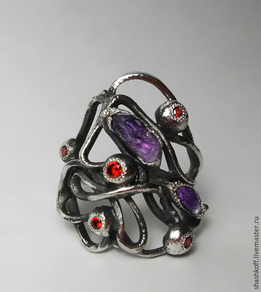 """Кольца ручной работы. Ярмарка Мастеров - ручная работа. Купить Серебряное кольцо """"Ботаникула-2"""". Handmade. Комбинированный, серебряное кольцо"""