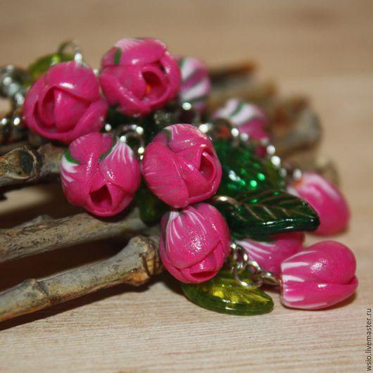 Клипсы (серьги)  ` Розовый букет крокусов` цена=900р. размер 6см.