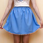 Одежда ручной работы. Ярмарка Мастеров - ручная работа Юбочка с помпонами голубая. Handmade.
