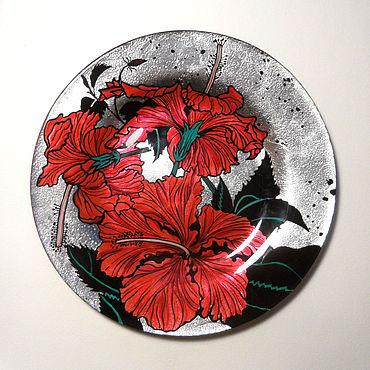Посуда ручной работы. Ярмарка Мастеров - ручная работа Коллекция тарелок Цветы - Красный гибискус. Handmade.