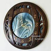 Для дома и интерьера handmade. Livemaster - original item Wooden wall clock with stained glass. Handmade.
