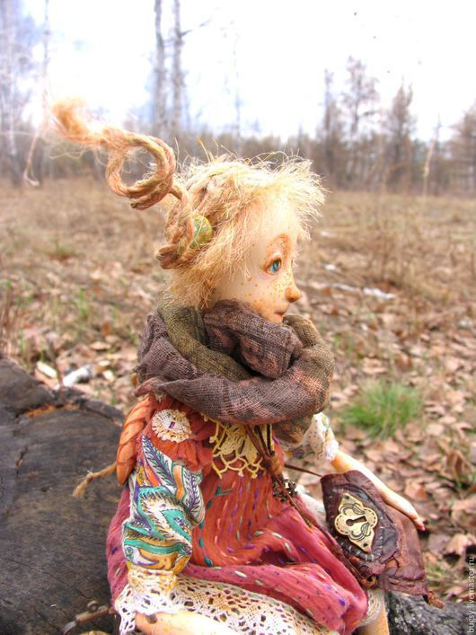 Коллекционные куклы ручной работы. Ярмарка Мастеров - ручная работа. Купить Ангел в дорогу в частной коллекции. Handmade. Коричневый