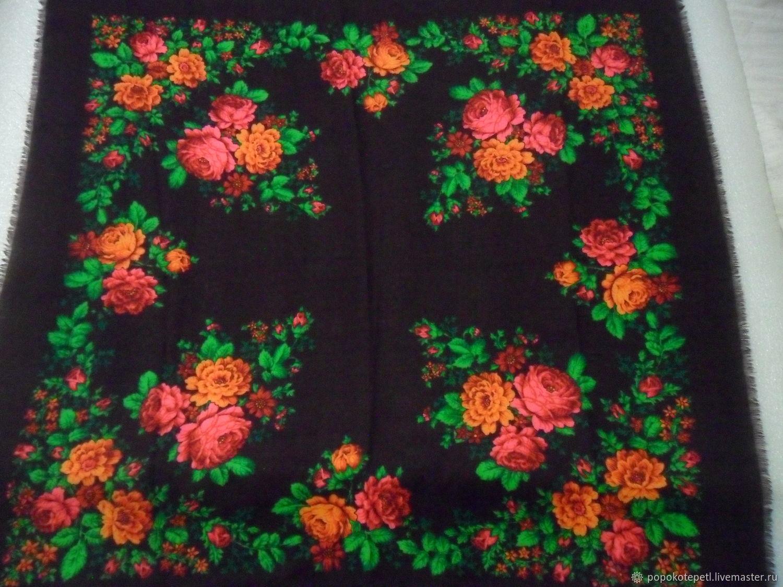 Vintage handkerchief Roses,100% wool,vintage Germany, Vintage accessories, Novorossiysk,  Фото №1