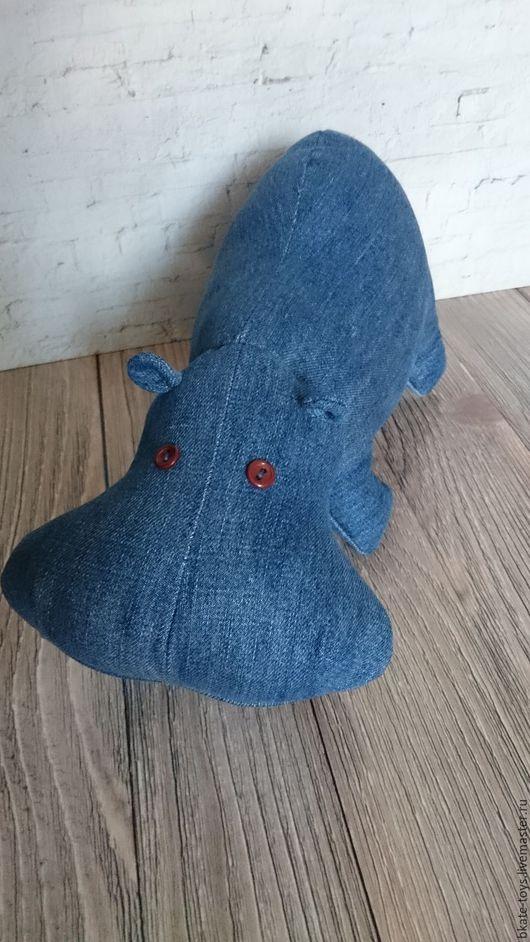 Игрушки животные, ручной работы. Ярмарка Мастеров - ручная работа. Купить Интерьерная текстильная игрушка Джинсовый бегемотик. Handmade.