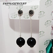 Украшения handmade. Livemaster - original item Silver long black earrings with black agate