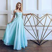 Одежда ручной работы. Ярмарка Мастеров - ручная работа нежно голубое летящее платье. Handmade.