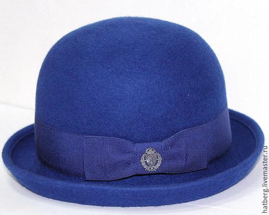 Шляпы ручной работы. Ярмарка Мастеров - ручная работа. Купить Стильная фетровая шляпа Bowler hat синего цвета.. Handmade.