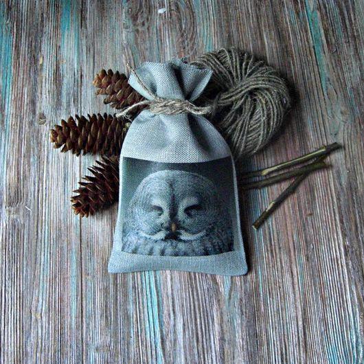 Подарочная упаковка ручной работы. Ярмарка Мастеров - ручная работа. Купить Льняной мешочек. Handmade. Темно-серый, сова, мешочек