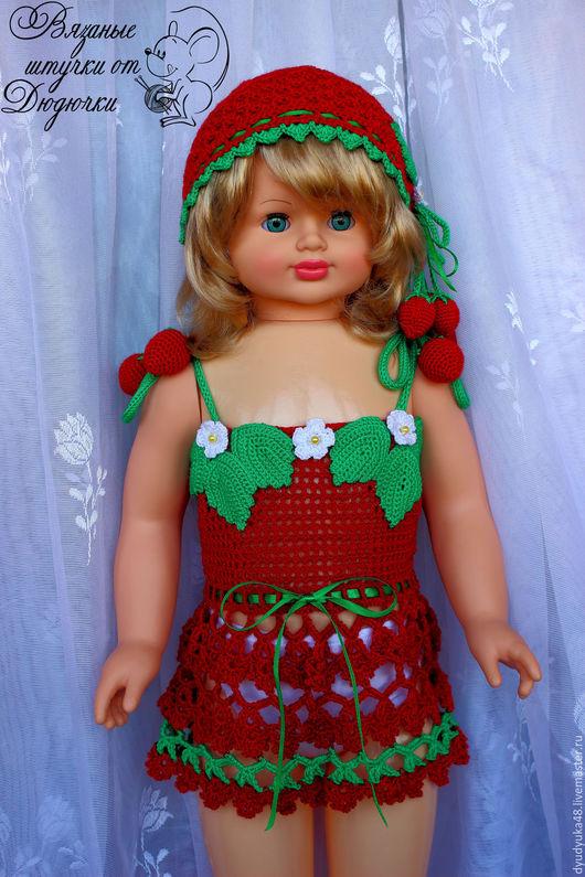 Одежда для девочек, ручной работы. Ярмарка Мастеров - ручная работа. Купить Платье шапочка клубничка на девочку комплект. Handmade. Клубничка
