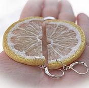 Серьги классические ручной работы. Ярмарка Мастеров - ручная работа Серьги лимонные дольки. Handmade.