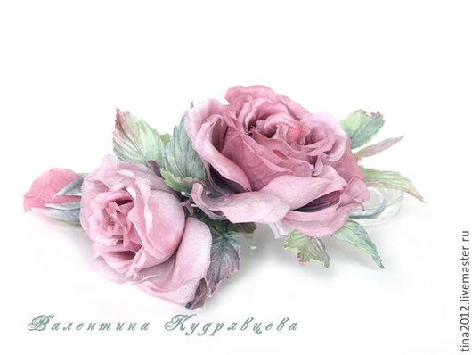 """Цветы ручной работы. Ярмарка Мастеров - ручная работа. Купить Цветы из шёлка. Роза """"Акварель"""". Handmade. Бледно-розовый, подарок"""