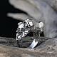 """Кольца ручной работы. Заказать """"Sansara"""" серебряное кольцо с рубином, кольцо с черепом, брутальное. Adorazione (adorazione). Ярмарка Мастеров."""