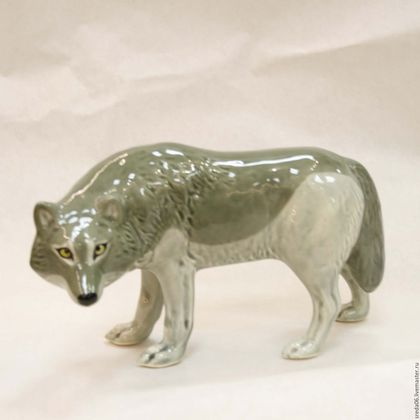 Статуэтки ручной работы. Ярмарка Мастеров - ручная работа. Купить Серый волк (Лесные жители). Handmade. Серый, фарфор