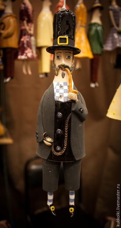 """Коллекционные куклы ручной работы. Ярмарка Мастеров - ручная работа. Купить Кукла-колокольчик """"Английский джентльмен"""". Handmade. Разноцветный"""