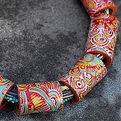 Украшения ручной работы. Ярмарка Мастеров - ручная работа колье из полимерной глины этно мокуме гане этно. Handmade.