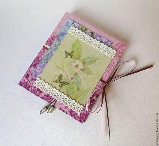"""Блокноты ручной работы. Ярмарка Мастеров - ручная работа. Купить Блокнот для записей """"Вишневый рассвет"""". Handmade. Розовый, блокнот"""