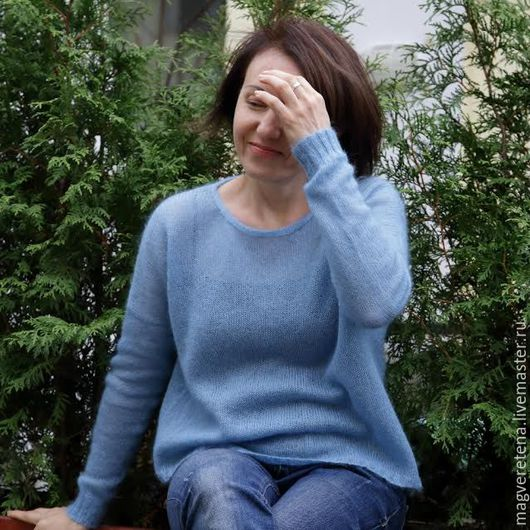 Вязание ручной работы. Пуловер оверсайз `Пушистое чудо`. Магия Веретена Восхитительная Пряжа. Интернет-магазин Ярмарка Мастеров.