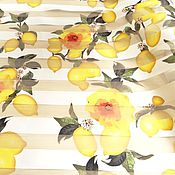 Ткани ручной работы. Ярмарка Мастеров - ручная работа ткань органза с цветами желтыми. Handmade.