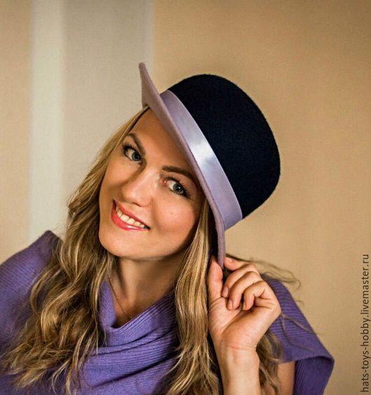 Шляпы ручной работы. Ярмарка Мастеров - ручная работа. Купить Двухцветная фетровая шляпка Аннет. Handmade. Комбинированный, тёмно-синий