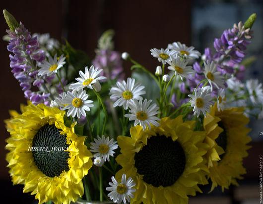 Цветы ручной работы. Ярмарка Мастеров - ручная работа. Купить Полевые цветы в кадке.. Handmade. Интерьерная композиция, ромашки