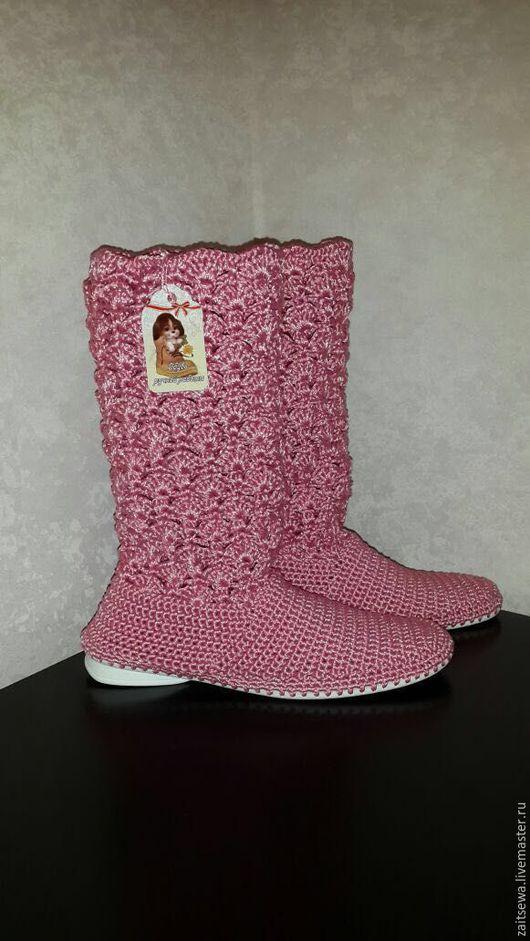 """Обувь ручной работы. Ярмарка Мастеров - ручная работа. Купить Сапожки """" Водопад"""". Handmade. Розовый, обувь ручной работы"""