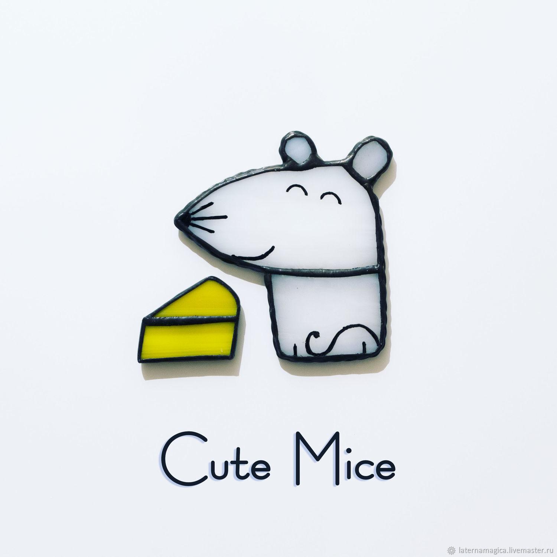 Милый мышонок с сыром. Набор магнитов из стекла.  Cute Mice  #34, Магниты, Новосибирск,  Фото №1