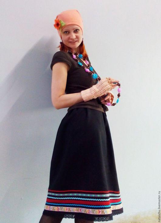 Юбки ручной работы. Ярмарка Мастеров - ручная работа. Купить Бохо-юбочка из шерсти с отделкой, бохо-стиль. Handmade. Черный