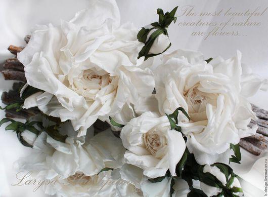 Интерьерные композиции ручной работы. Ярмарка Мастеров - ручная работа. Купить Цветы из ткани. Веточка шелковых роз «Эйвори». Handmade.