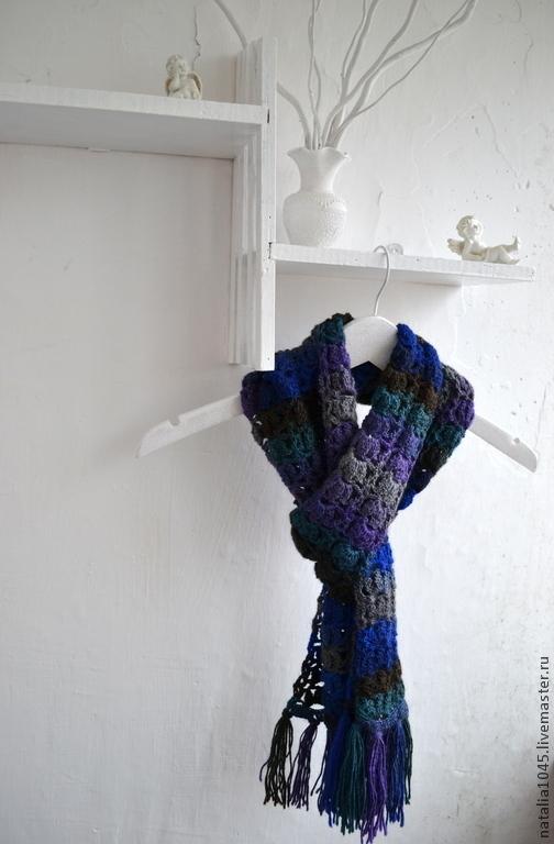 """Шарфы и шарфики ручной работы. Ярмарка Мастеров - ручная работа. Купить Шарф вязаный крючком """"Стильный синий"""". Handmade. шарф"""